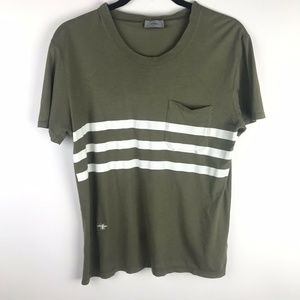 Dior Homme T-Shirt Green Striped Bug Embroidered
